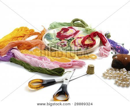 embroidery and colorful threads on white background