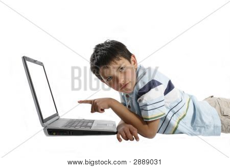 A Boy Using Laptop With White Background