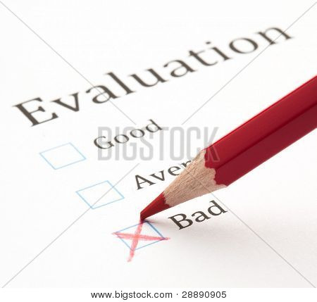 evaluation test check box, extreme closeup photo