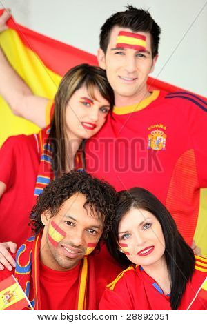 Four Spanish football supporters
