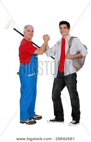 Handyman welcoming probationary worker