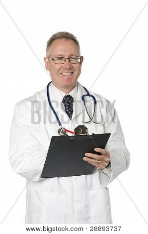 Smiling Doctor On White With Clipboard