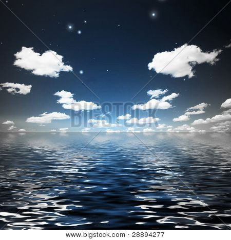 Clouds with stars over rippling water