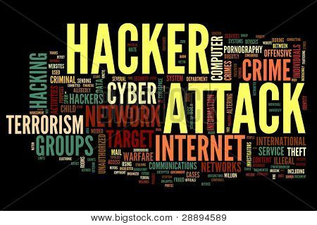Hacker attack concept in word tag cloud isolated on black background
