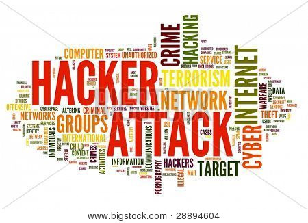Hacker attack concept in word tag cloud isolated on white background