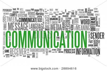 Communication concept in word tag cloud isolated on white background