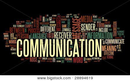 Communication concept in word tag cloud isolated on black background