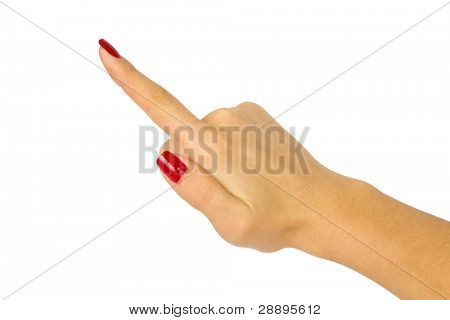 hand press button on white background