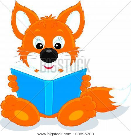 Fox cub reading a book