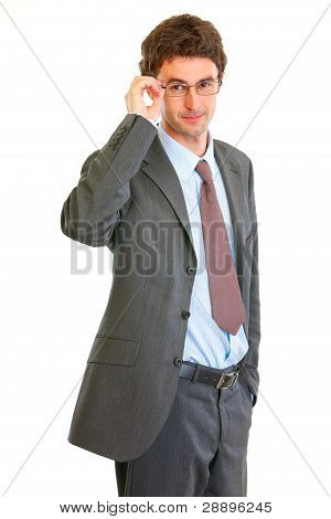 Portrait Of Confident Modern Businessman In Eyeglasses