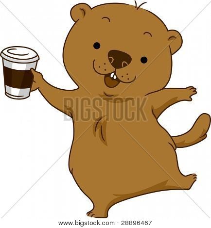 Illustration of a Groundhog Holding a Cup of Coffee