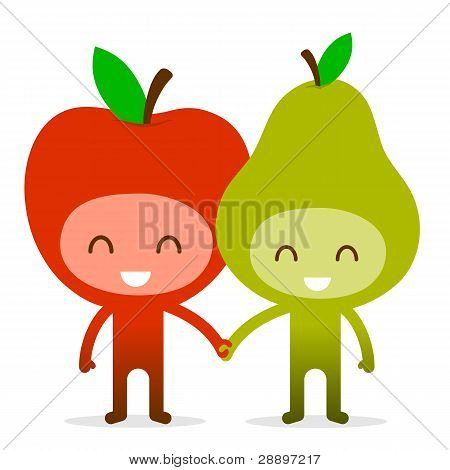 Friendly Fruit Couple Apple and Pear