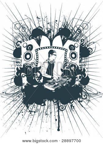 Emblem dj on grunge background