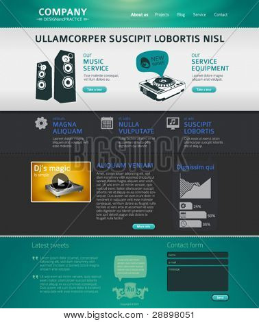 Website design template with infographics