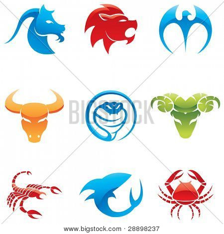 Glossy logos of 9 different animals in various colors