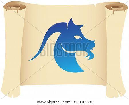 Capricorn zodiac star sign on a grunge manuscript