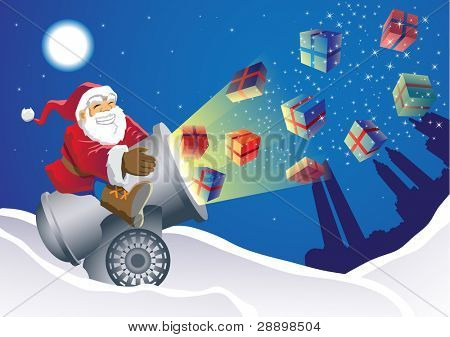 Santa Gift Launcher delivering the gifts in an unusual way