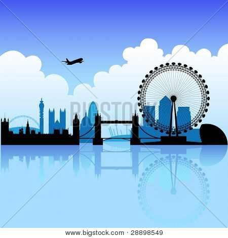 London skyline silhouette on a bright partly cloudy day
