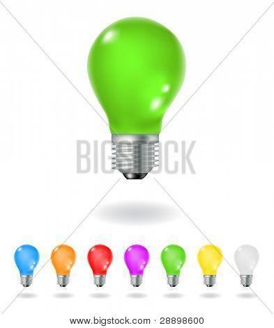 bunten Glühbirnen isoliert auf weißem Hintergrund