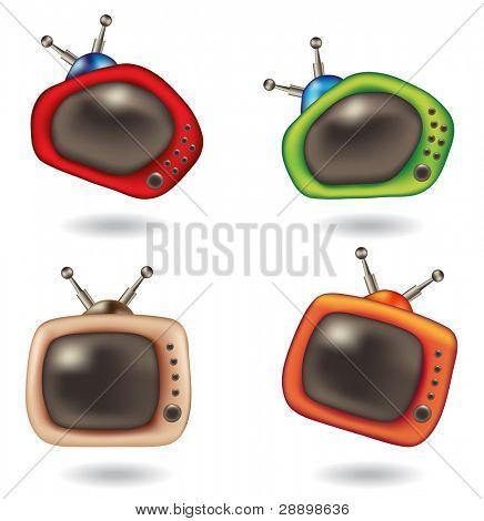 fun cartoon television icons isolated on white