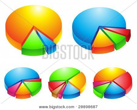 5 colorful 3d pie graphs isolated on white