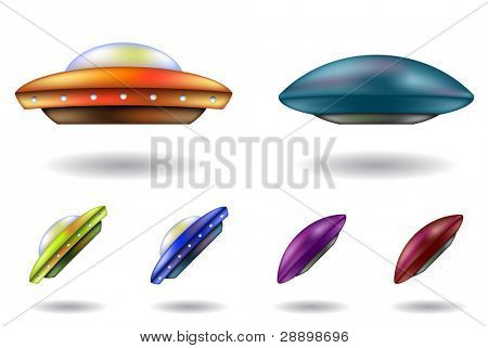 colourful unidentified flying objects vector cartoons isolated