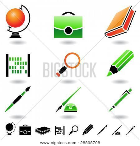 Educational icons and design elements isolated on white