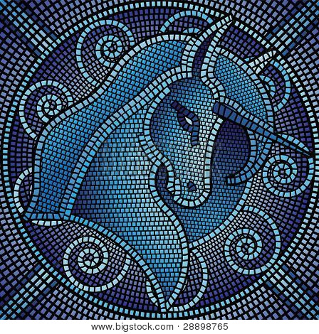 Lots of mosaic tiles forming a unicorn