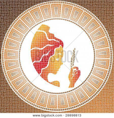 Element earth: virgo zodiac sign on a mosaic