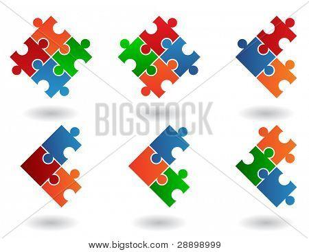 Jigsaw Puzzle Symbole isoliert auf weißem Hintergrund