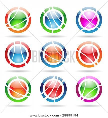 abstract design elements: glossy orbit icons
