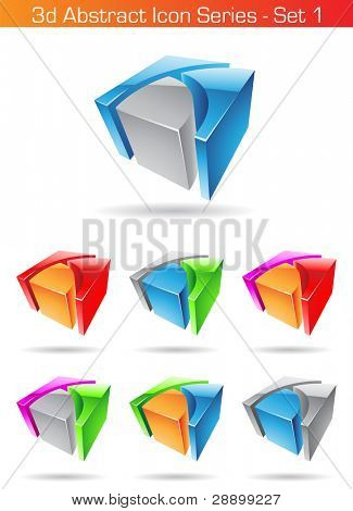 Vector illustration of 3d Abstract Icon Series - Set 1