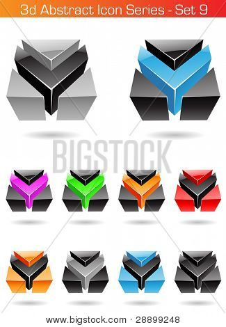 Vector EPS illustration of 3d Abstract Icon Series - Set 9