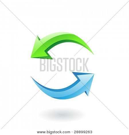 3d glossy refresh icon, green and blue arrows isolated on white