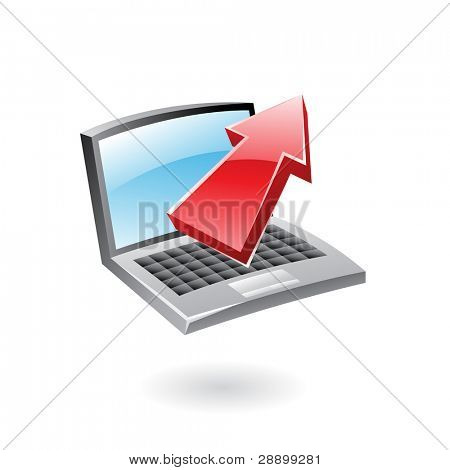 3d glossy upload icon, red arrow and computer isolated on white