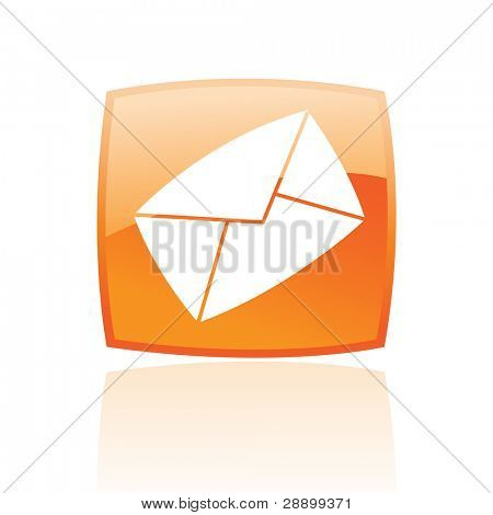 Orange envelope isolated on white