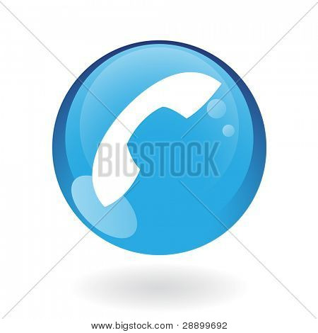 Glossy phone in blue button isolated on white