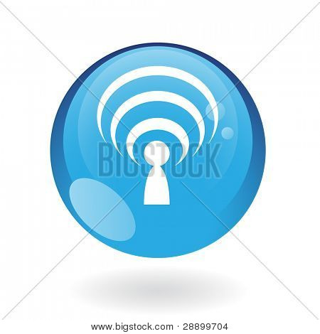 Glossy podcast in blue button isolated on white