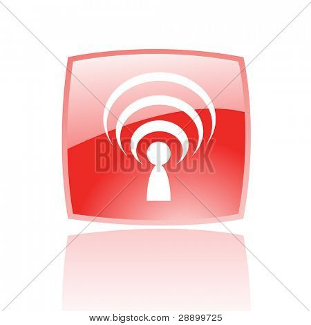 Glossy podcast in red button isolated on white