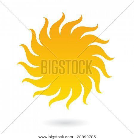Icono de sol aislado en blanco