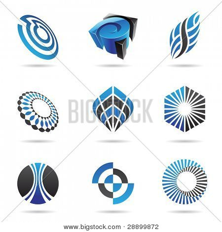 Various blue abstract icons isolated on a white background