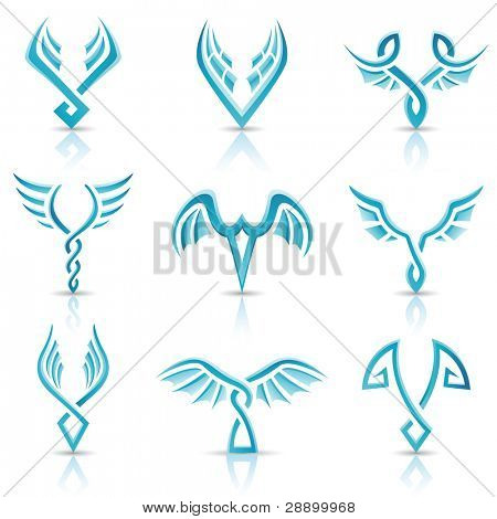 Vector illustration of blue glossy abstract wings