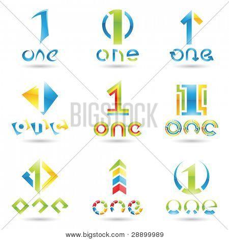 Ilustración del vector de iconos para número uno aislado sobre fondo blanco