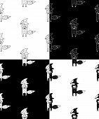 Cute Cartoon Hand Drawn Fox Pattern Collection. Sweet Vector Black And White Fox Pattern Collection. poster