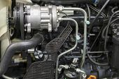 Modern New Agricultural Diesel Tractor Engine. Modern New Hi-tech Engine Of Loader Or Small Tractor. poster