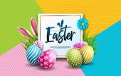 Vector Illustration Of Happy Easter Holiday With Painted Egg, Rabbit Ears And Spring Flower On Color poster