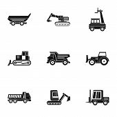 Building Heavy Vehicle Icon Set. Simple Set Of 9 Building Heavy Vehicle Icons For Web Isolated On Wh poster