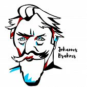 Johannes Brahms Engraved Vector Portrait With Ink Contours. German Composer And Pianist Of The Roman poster