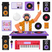 Young Hipster Dj With Beard And Equipment Mixing Music On The Turntables. Dj Playing And Mixing Musi poster