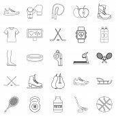 Intensity Icons Set. Outline Set Of 25 Intensity Icons For Web Isolated On White Background poster